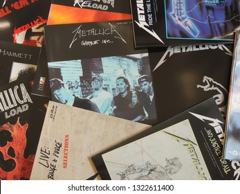 Horst, Netherlands - 02/25/2019 : Collection of music books for guitar of rock music band Metallica