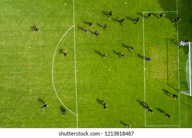Horst, Netherlands - JULY 11, 2018: aerial view from the sport center of Horst of the Netherlands during the training of the PAOK team