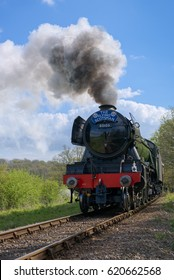 HORSTED KEYNES, SUSSEX/UK - APRIL 13 : Flying Scotsman on the Bluebell Line near Horsted Keynes in Sussex on April 13, 2017