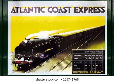 HORSTED KEYNES, SUSSEX/UK - MAY 7 : Atlantic Coast Express poster at Horsted Keynes stationon May 7, 2011