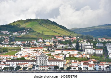 Horta, Faial Island/ Azores Island, Portugal - 06/24/2017: Waterfront view of the beautiful Horta city.