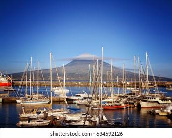 Horta Harbor and Mount Pico