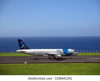 Horta, Island of Faial, Azores, Portugal - 07/24/2015: Airbus A320 of SATA Airlines at Horta Airport