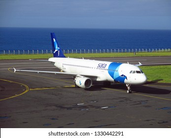 Horta, Island of Faial, Azores, Portugal - 07/24/2015: Airbus A320 of SATA Airlines at Horta Airport