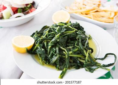 Horta, traditional greek food