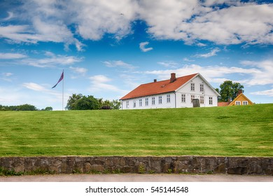 Horten, Norway - July 14, 2016: Horten landscape, Norway.The town is named after the old Horten farm (called 'Hortan' in 1552), since it is built on the same ground.