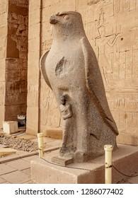 Horus statue at the Temple of Horus in Edfu Egypt