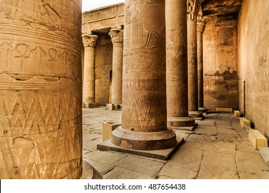 Horus Temple with the numerous stone columns and the portal decorated with ancient Egyptian Gods