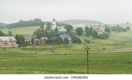 czechKrušné hory mountain landscape in foggy weather - Shutterstock ID 1996381892