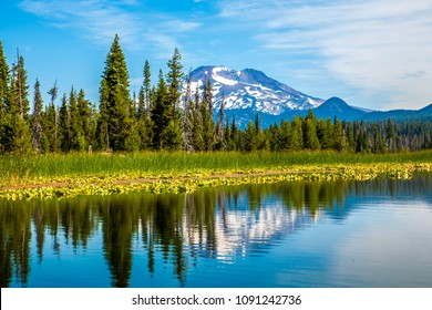 Hosmer Lake in central oregon, with the south sister reflected in the lake