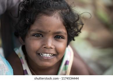 Hospet ,India - August 25 2018 : portrait of Indian children in local morning market at Hospet,Karnataka,South India