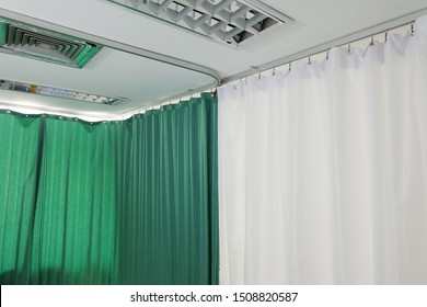 Curtains in the waiting room at the hospital.