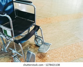 Hospital Background with patient on bed, wheelchair in hallway. Public private healthcare service for illness, coma, chemotherapy, cancer, handicap old senior sick from professional nurse doctor