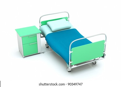 a hospital bed isolated on white