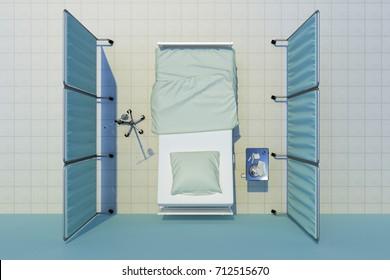 hospital bed nobody top view. 3d rendering