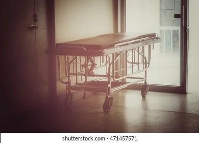 Hospital bed in hospital, process vintage tone