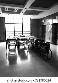 Hospital bed and wheelchair