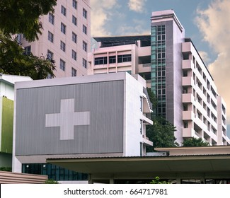 hospital building with big symbolic