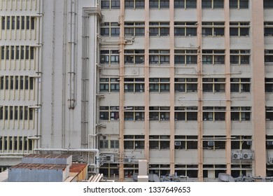hospital building with many windows. Architectural backdrop.
