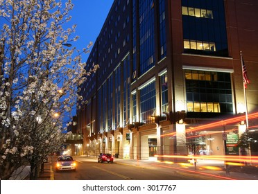 Hospital building at twilight.