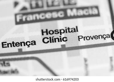 Hospital Clinic Station. Barcelona Metro map.