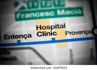 Hospital Clinic Station. Barcelona Metro map.