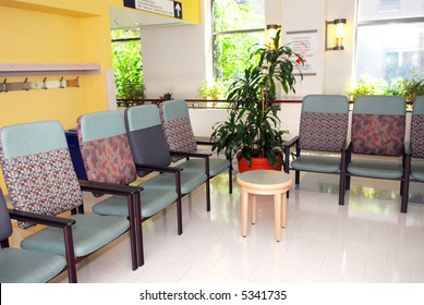Hospital or clinic waiting room with empty chairs