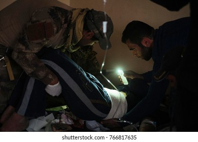 The hospital close to the Mosul frontline where the international coalition fighting ISIS. The hospital often have no electricity and must arrange with the light of a phone. Gagjali (IRQ), 2016/Nov/26