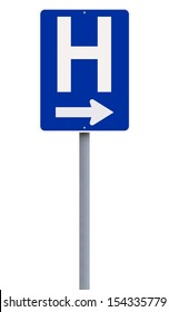 A hospital directional sign