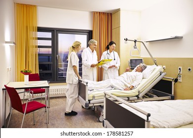 Hospital doctor's visit with sick patient