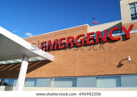 Hospital Emergency Room Sign A Red Outside Marking The Location Of