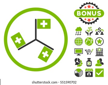 Hospital Flags icon with bonus symbols. Glyph illustration style is flat iconic bicolor symbols, eco green and gray colors, white background.