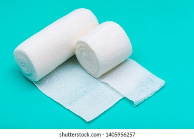 Hospital Grade Sterile Rolled Gauze on green background.