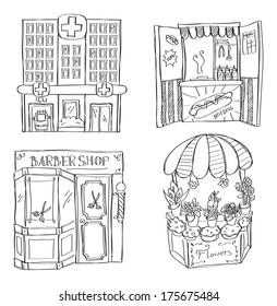 hospital - hotdog booth - barber shop - flower shop