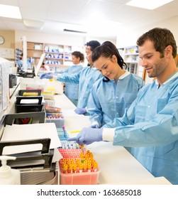 Hospital lab preparing samples for referral