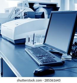 Hospital laboratory, being immunoassay test.