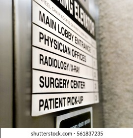Hospital medical elevator sign with copy space