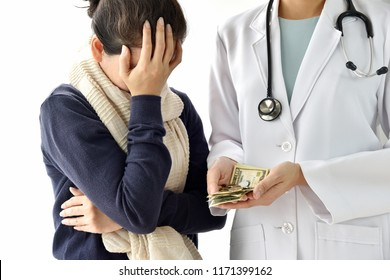 Hospital and medical expenses, Woman patient face-palming worried about medical fee charges for disease treatment, Doctor holding dollar money, Health insurance concept.