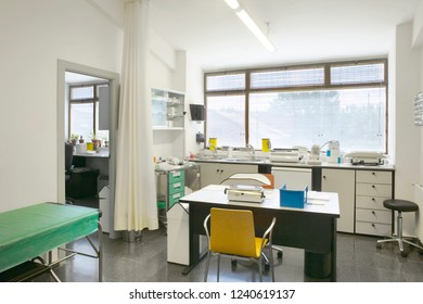 Hospital medical pediatric examination room. Pediatrician healthcare diagnosis. Interior
