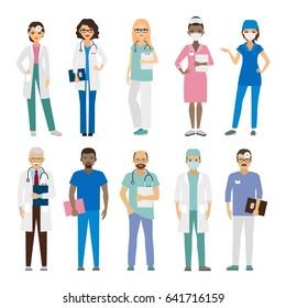 Hospital medical team. Medical staff illustration