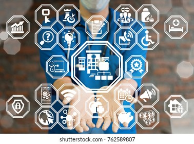 Hospital Network - Medical Structure concept. Medicine Information Technology Networking Web Technology. Doctor using virtual innovative interface offers healthcare building (clicnic) flowchart icon.