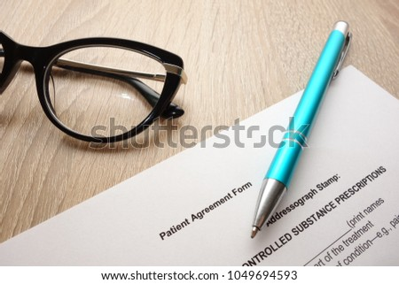 Hospital Patient Agreement Form Filling Signing Stock Photo Edit