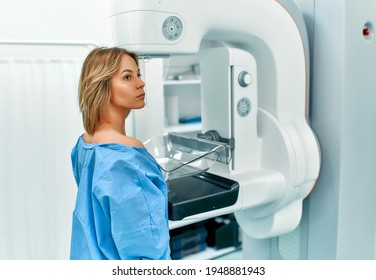 In the hospital, the patient undergoes a screening procedure for a mammogram, which is performed by a mammogram. A modern technologically advanced clinic with professional doctors.
