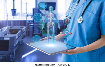 Hospital room and medical technology concept.