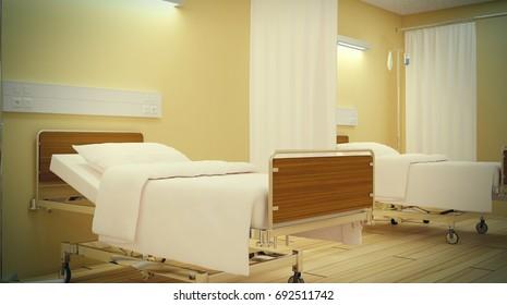 Hospital room in yellow tones. 3D illustration
