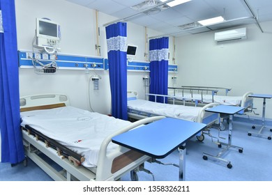 Hospital ward with beds and medical equipment. Karachi, April 03, 2019