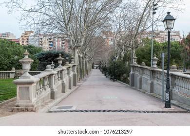 HOSPITALET DE LLOBREGAT,SPAIN-JANUARY 27,2015:Public garden ,park, Manor house in Parc Can Buxeres in Hospitalet de Llobregat, province Barcelona, Catalonia.