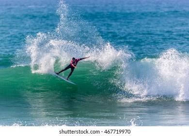 Hossegor, France - October 2nd. 2014 - Australian surfer Joel Parkison executing a turn in Hossegor at the Quiksilver Pro in France.