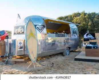 Hossegor, France - October 9, 2015: Caravan equipped for street food on Hossegore Beach, France.