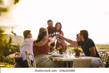 Host couple toasting drinks with friends at dinner party. Cheerful people celebrating with drinks at party.